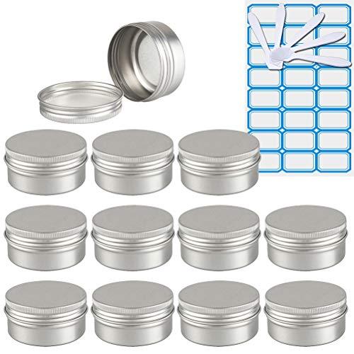 TIANZD 12 Piezas Bote de Aluminio con Tapa Rosca - 50ml, Plata Tarros de Aluminio Vacíos, Cosmetica cremas, Almacenar Pequeñas Cosas, Velas - 1x Etiqueta y 5X Mini Espátula