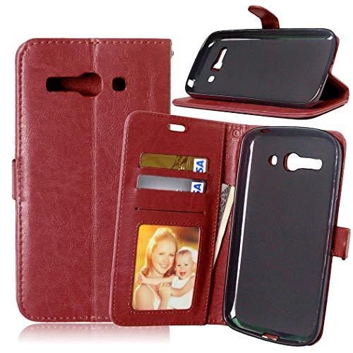 JEEXIA® Funda para Alcatel OneTouch Pop C9, Moda Business Flip Wallet Case Cover PU Cuero con Soporte Cubierta Protectora - Marrón