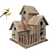 unfinished bird house - Lyfreen Wooden Birdhouses Pet Wren Home,Large Bird Houses for Outside Distressed Wooden Garden Bird Home Unfinished Bird Houses to Paint for Birdwatching