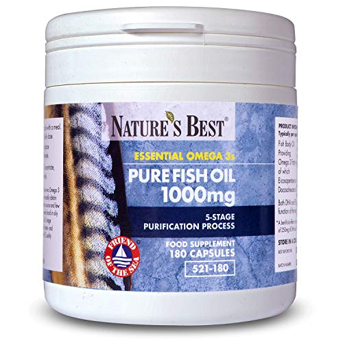 Pure Fish Oil 1000mg | 180 Capsules | 6 Month's Supply | One-A-Day |...