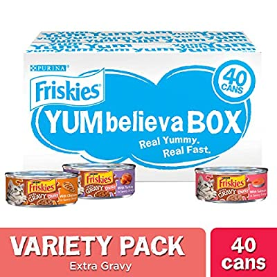 Purina Friskies Gravy Wet Cat Food Variety Pack, YUMbelievaBOX YUM-azing Extra Gravy Chunky - (40) 5.5 oz. Pull-Top Cans