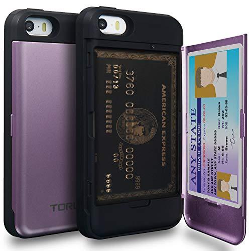 TORU CX Pro Funda iPhone SE Carcasa Cartera Morado con Tarjetero Oculto y Espejo para Apple iPhone SE/iPhone 5S / iPhone 5 - Lavanda
