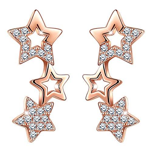 Infinito U - Pendientes Estrellas de Plata de Ley 925 con Circonitas Cúbicas,Pequeños para Niñas Mujeres