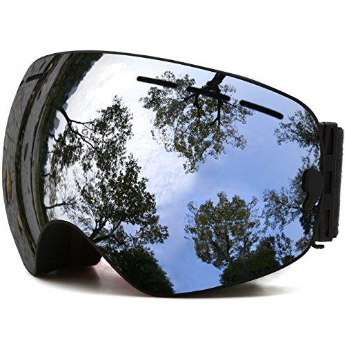 Juli Ski Goggles,Winter Snow Sports Snowboard Goggles with Anti-Fog UV Protection Detachable Dual Lens for Men Women Snowmobile Skiing Skating(Black Frame+VLT 18.5% REVO Silver)