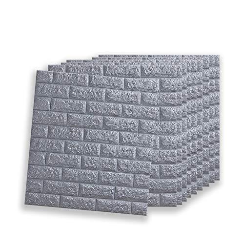 VASEN Papier Peint 3D Brique Amovible Décoradif Stickers Muraux Effet Pierre Autocollant Imperméable Auto-Adhésif pour Chambre Maison Cuisine (77 * 70CM) (10ps, Gris)