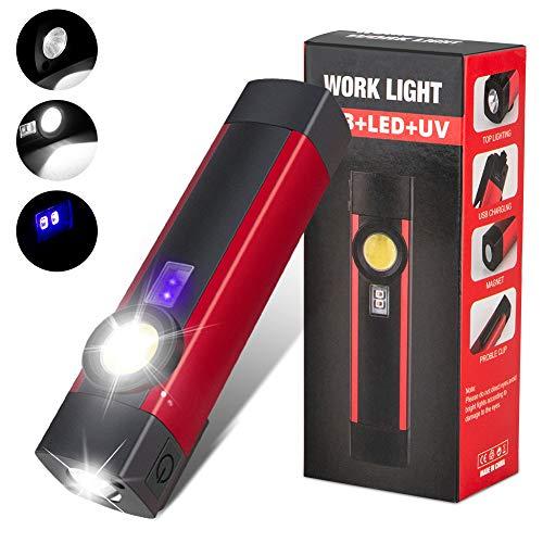 LED Arbeitsleuchte Werkstattlampe, Wiederaufladbare COB Inspektionsleuchten Taschenlampe mit Schwarzlicht Magnet Clip Haken, für Garage, Camping, Notfall usw