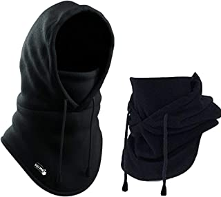 Balaclava Fleece Hood - Windproof Face Ski Mask - Ultimate Thermal Retention & Moisture Wicking with Performance Soft Fleece Construction, Black, One Size