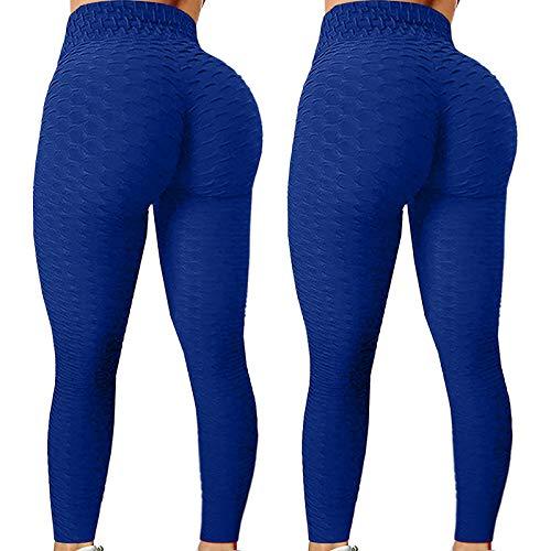 CXDS 2 Stück Damen Fashion Stretch Yoga Leggings Fitness Laufen Gym Sport Active Pants Klassische Bauchkontrolle Mittlere Taille Workout Jogging Strumpfhosen S Blau 4