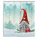 Wamika Merry Christmas Cute Gnome Schneemann Duschvorhang 60W x 72H Zoll Winter Schnee Schneeflocke Weihnachtsbaum Jingle Bells Badezimmer Vorhang Set mit Haken Santa Claus Happy New Year Dekoration