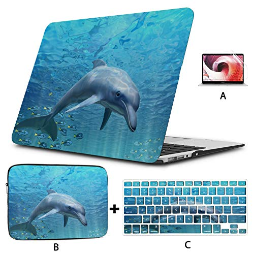 MacBook Air Case Dolphin Underwater On Reef Look MacBook Pro 13in Case Hard Shell Mac Air 11'/13' Pro 13'/15'/16' with Notebook Sleeve Bag for MacBook 2008-2020 Version