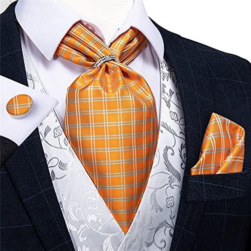 DYXYH Hombres Vintage Naranja Cheque Seda Corbata Corbata Corbata Estilo británico Boda Fiesta pañuelo pañuelo Anillo Conjunto (Color : Silver Ring, Size : One Size)
