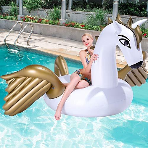 XUEKUN Aufblasbares Schwimmmatte/Bett Pool Float Spielzeug Gold-Pegasus-Einhorn Gaint Sunbathe Matten-Matratze-Luft-Wasser-Einfassung Für Strand Meer Schwimmen white-250 * 210cm