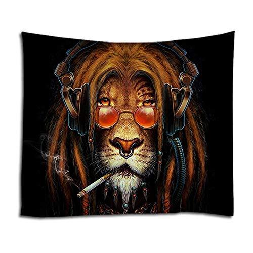 Boheemse stijl gooien bohemien stijl yoga meditatie tapijt grappige leeuw wandtapijten kunst muur hippie kunst koele leeuw roken liefde muziek wandtapijten