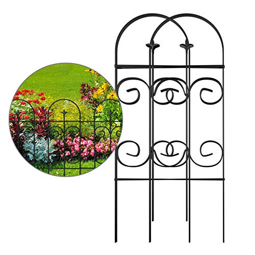 Amagabeli Valla 81CM X 52CM Jardín de Hierro - Set de 7 - Valla Decorativa Hierro para Jardín Metalicas Negro