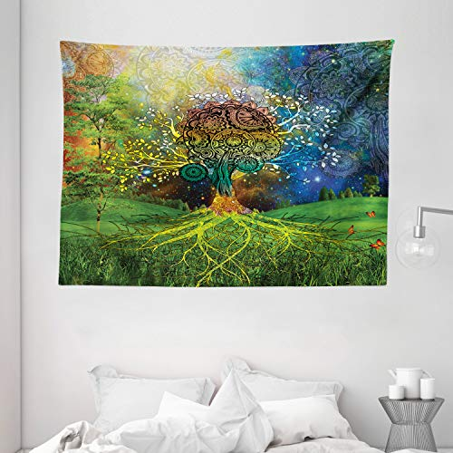 Ambesonne Ethnic Tapestry, Tree in The Valley with Spiral Branch Balance in Mother Earth Art Illustration, Wide Wall Hanging for Bedroom Living Room Dorm, 80' X 60', Green Blue