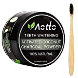 Aotto Activated Charcoal Teeth Whitening Powder, Natural Coconut Teeth Whitener, No Hurt on Enamel or Gum, Bamboo Brush Included