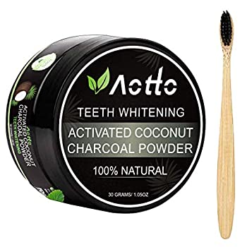 Aotto Activated Charcoal Teeth Whitening Teeth Whitener Powder for Natural Coconut No Hurt on Enamel or Gum Bamboo Brush Included