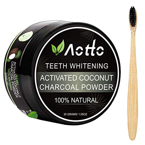 Aotto Activated Charcoal Natural Teeth Whitener Teeth Whitening Charcoal Powder No Hurt on Enamel with Bamboo Brush
