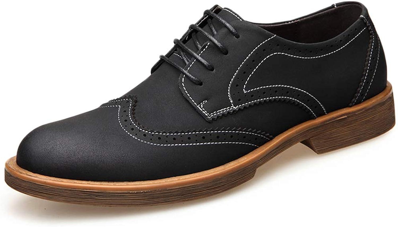 GanSouy Men's Business Office Work Brogue Low-Top Oxfords Smart Wedding Uniform Black Lace-Up Derby shoes Formal Dinner Dress Lace-Ups shoes