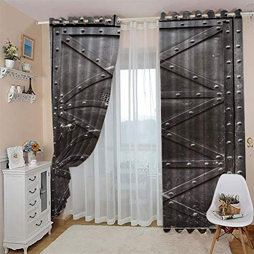 CLZLH Blackout Curtains For Living Room Eyelet Window Treatments 3D Printing Retro, Simple, Iron Gate Pattern 46X90 Inch Drop Boys Girls Bedroom Home Decoration Super Soft Window Curtains 2 Panels
