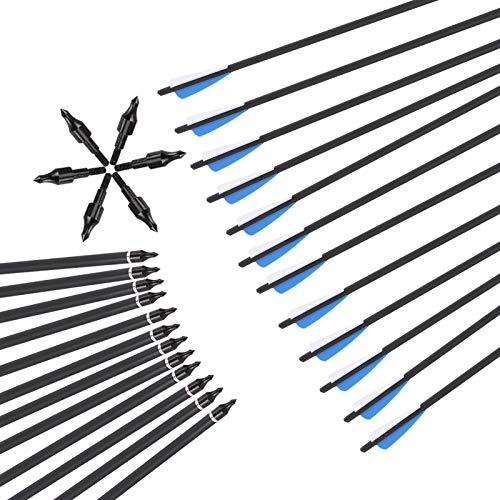 Trintion 12 Stück Pfeile 21 Zoll Carbonpfeile Bogenpfeile mit Kunststoffbefiederung für Bogen, Recurvebogen, Langbogen und traditionellen Bogen
