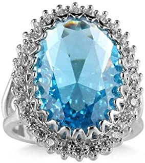 Ravewan Shop Amazing Jewelry Gift Natural Titanic Ocean Blue Topaz Gems Silver Ring Size 6-10 (7)