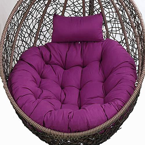 Cojines para Sillas Colgantes, Grueso Cojín para Hamaca Colgante Exterior, Lavable Grande Cojín Silla Colgante Interior Huevo con Ajustable Reposacabezas para Interior ExteriorDark Purple