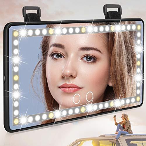 Adhope Specchio per il trucco per auto, con illuminazione a LED, per il trucco, con 60 luci LED, 3 modalità di illuminazione, batteria ricaricabile USB, universale