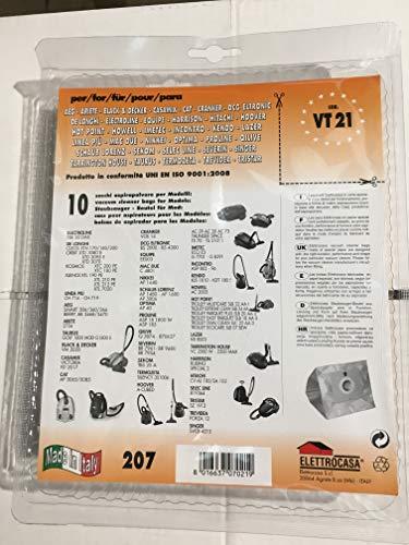 Elettrocasa VT 21 - Accessorio per aspirapolvere, colore: grigio, CLEOS XTH 170 XTH 180 XTH 200 KOSMOS : XTC 180 PE XTC 200 PE ORBIT: XTD 3070 XTD 3080 E XTD, 6 pezzi