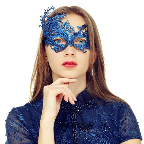 Masquerade Mask for Women Vintage Luxury Mask Women's Lace Eye Mask For Masquerade Party Prom Ball Halloween (Phoenix Blue)
