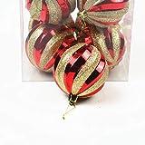 12Pcs Bolas de Adornos navideños Bolas de árbol de Navidad de 8 cm Bolas Decorativas de Navidad para el hogar Regalo de año Nuevo Decoración de Bolas de Navidad, Rojo y Dorado