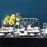 MALACASA, Serie Elvira, 60 TLG. CremeWeiß Porzellan Geschirrset Kombiservice Tafelservice mit Tassen, Untertassen, Dessertteller, Suppenteller und Flachteller für 12 Person - 8
