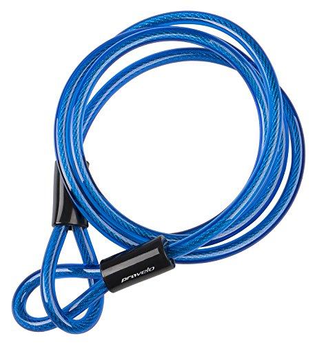 Provelo Schlaufenkabel in blau | Schlaufenseil aus Stahl mit Kunststoff ummantelt | 200 cm x 10 mm | Kabel mit Schlaufen | Fahrradschloss | Stahlkabel | Kettenschloss