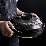 Lsqdwy Olla Japonesa Donabe, cazuela de cerámica Resistente al Calor con Tapa, Olla para estofado Lento, cazuela Redonda, Olla para Sopa, Olla para cocinar sin Aceite B 0.9l