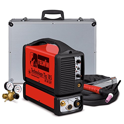 TELWIN Technology Tig 185 DC HF/Lift WIG-Schweissgerät mit Invertertechnik, Set inkl. WIG-Schlauchpaket, Aluminium-Transportkoffer, Massekabel und Druckmin