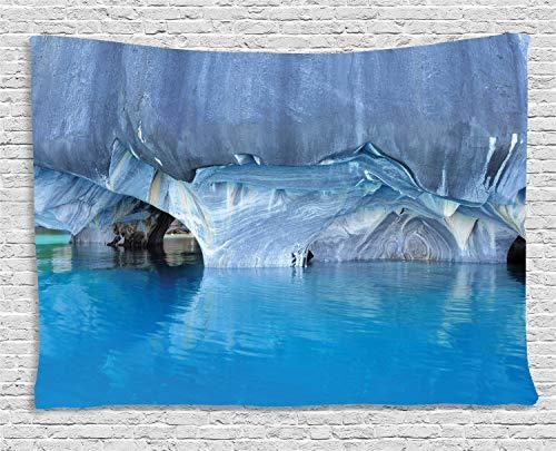 ABAKUHAUS Blau Wandteppich, Marmor-Höhlen-See in Chile, Wohnzimmer Schlafzimmer Heim Seidiges Satin Wandteppich, 150 x 100 cm, Weiß Blau