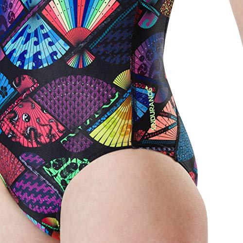 Speedo Girls' TranquilFan Allover Digital Thinstrap Crossback Swimsuit, Black/Bright Zest, 28 (9-10 Years)