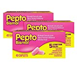 Pepto Bismol Caplets for Digestive Relief, 3 Boxes of 40 caplets, Nausea, Heartburn, Indigestion, Upset Stomach, and Diarrhea