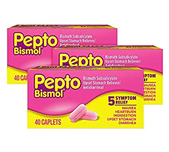 Pepto Bismol Caplets Upset Stomach Relief Bismuth Subsalicylate Multi-Symptom Relief of Gas Nausea Heartburn Indigestion Upset Stomach Diarrhea 40 Caplets  Pack of 3