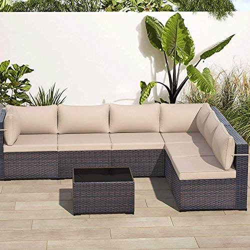 ALAULM 7 Piece Outdoor Patio Furniture Set Modular Rattan Sectional Sofa Set All Weather Deck Couch PE Wicker Backyard Patio Conversation Chair with Coffee Table & Thick Sand/Khaki Cushions