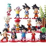 Yvonnezhang 13 unids / Set Childhood Dragon Ball Krillin Vegeta Troncos Upa Bulla Pan Son Goten Gohan Goku Chichi Piccolo Figura de acción Juguetes Modelo