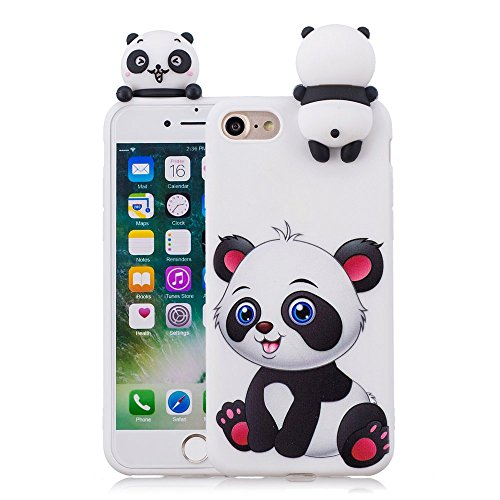 LAPOPNUT Case for iPhone 7 Case iPhone 8 Case Soft Back Cover 3D Cartoon Panda Candy Colour Girly Bear Design Slim Flexible Protective Case Cover Bumper for Girls, Cartoon Panda