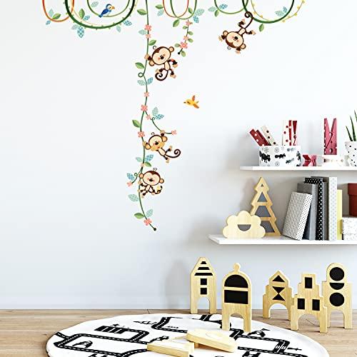 DECOWALL DW-1607N Monos en una Enredadera Vinilo Pegatinas Decorativas Adhesiva Pared Dormitorio Saln Guardera Habitaci Infantiles Nios Bebs