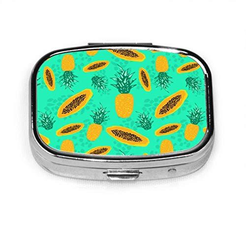 Pill Box Pattern Pine Papaya Tropical Exotic Cute Pill Case Daily Pill Portable for Pocket Purse Briefcase Travel Pills Box