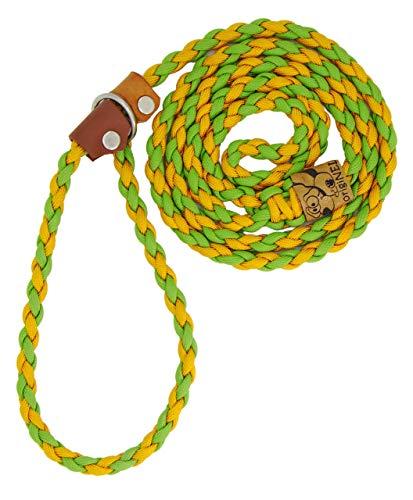 Hundeleine Wookie aus Paracord, Trainingsleine, Führleine, 2 Farben individuell Kombinierbar, Handgeflochten, Halsumfang verstellbar, 0.8 Zentimeter breit