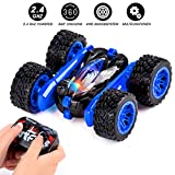 Sundaymot Remote Control car, 360° Flip RC Stunt Car 4WD Off Road 2.4Ghz Truck, Toy Gift for 6-13 Years Old Kids, Blue