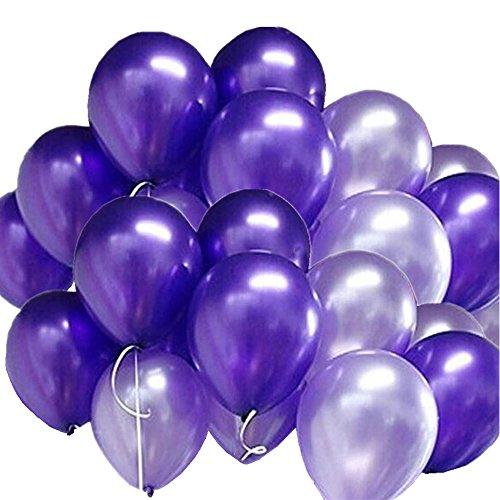 GuassLee 100pcs / Pack Globos Púrpura y Púrpura Ligera Clasificados para Las Decoraciones de la Fiesta de Cumpleaños de la Boda