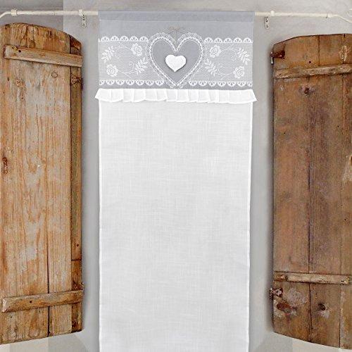 GLShabby Vorhang Gardine Scheibengardine mit Rüschen Landhaus Shabby Chic - Rüsche Volant/Herzen - 60x150 - Weiß/Grau