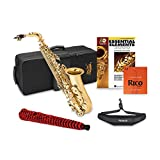 Jean Paul USA AS-400 Student Alto Saxophone with Rico Reeds Strength 2.5 (10 pack), Neck Strap, Pad Saver, and Book