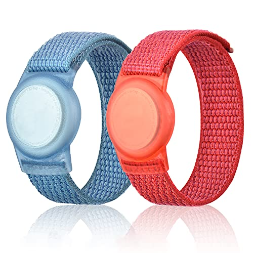 2 Pack Wristband for Airtag Kids, GPS Bracelet for kids Compatible with Apple Air Tag, Nylon Watch Band Tracker Case Strap Holder Accessories for Toddler Child Adult, Adjustable Anti-Lost(BlueRed)